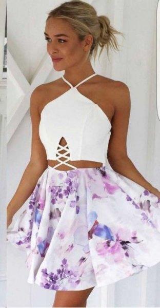 two-piece dress white halter top white floral mini skirt