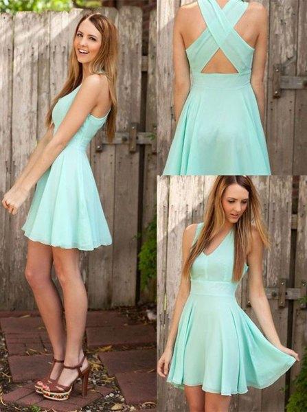 criss crosis fit and flare chiffon mini dress
