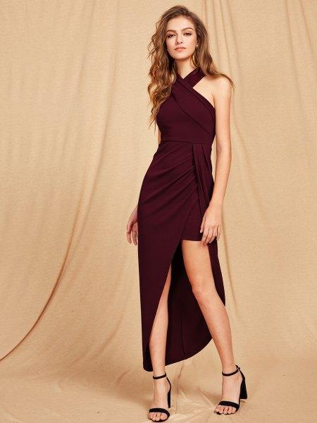 criss cross halter maxi dress with high slit