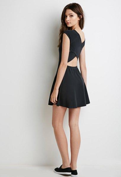 black criss cross back skater dress