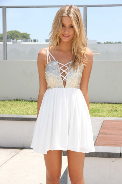 silver and white sequin and chiffon dress