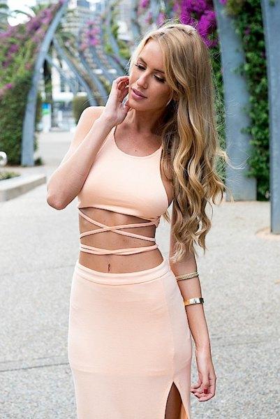 two-piece dress cream crop top pencil skirt