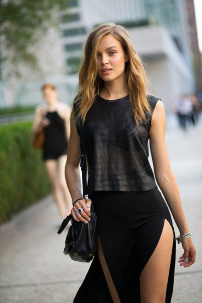 two tone black double slit maxi dress