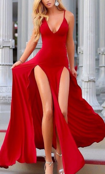 red deep v-neck double slit floating dress