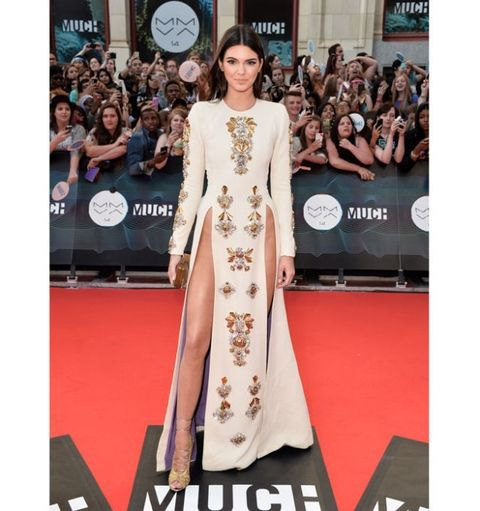 white tribal printed long sleeve maxi dress Kendall jenner
