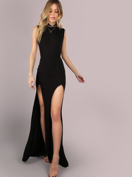 high-sleeved double-breasted maxi dress