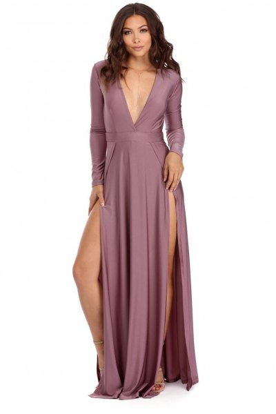 purple deep maxi dress with v-neck