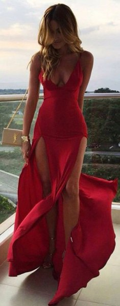red chiffon deep v-neck long flowing dress