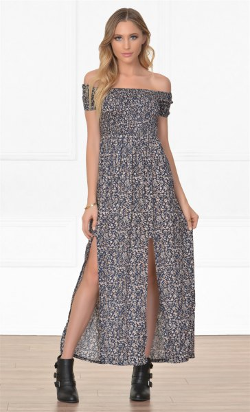 of shoulder maxi dress ankle boots