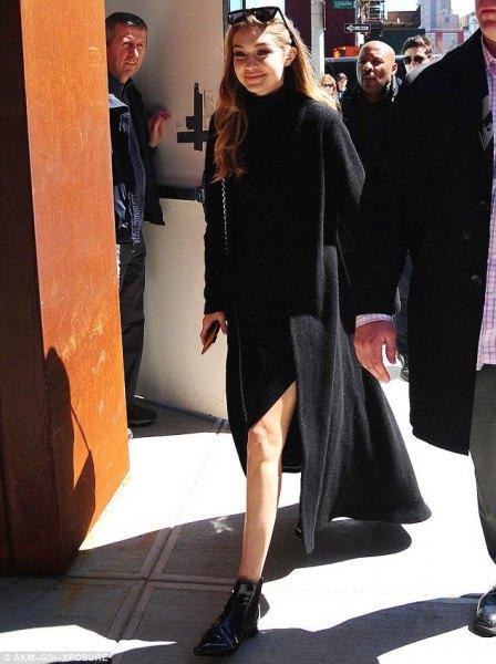 double slit dress black long wool coat