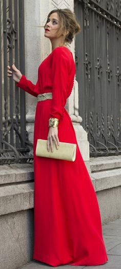 red long sleeve maxi dress
