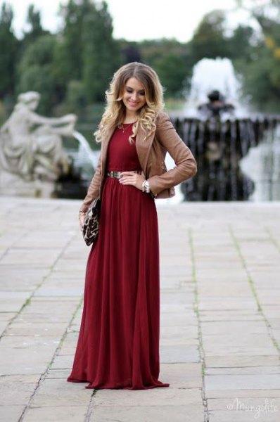 burgundy belt maxi dress camel blazer
