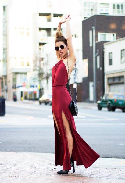 red bodycon high split dress