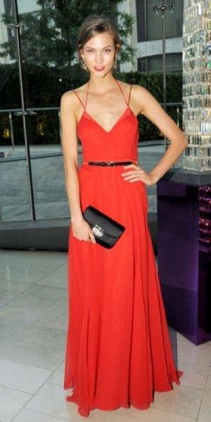 strappy v-neck red belt dress