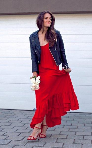 black leather jacket red dress dress