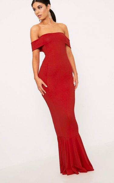 of shoulder bodycon maxi dress