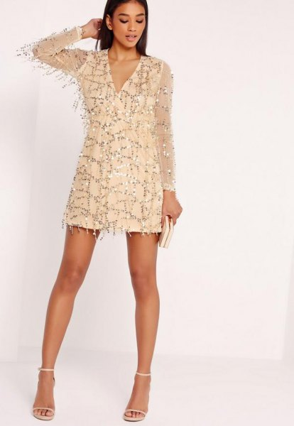 gold chiffon sleeve sequin dress