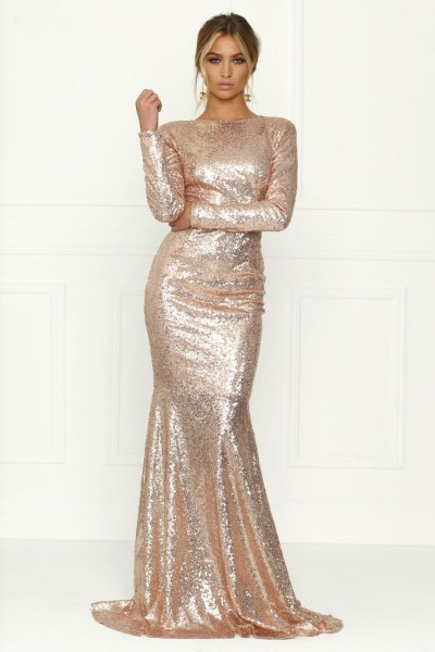 pink gold sequin long formal dress