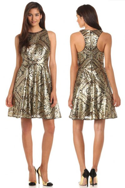 gold tribal printed fit and flare dress