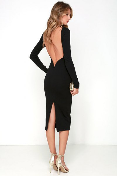 black backless high split midi dress