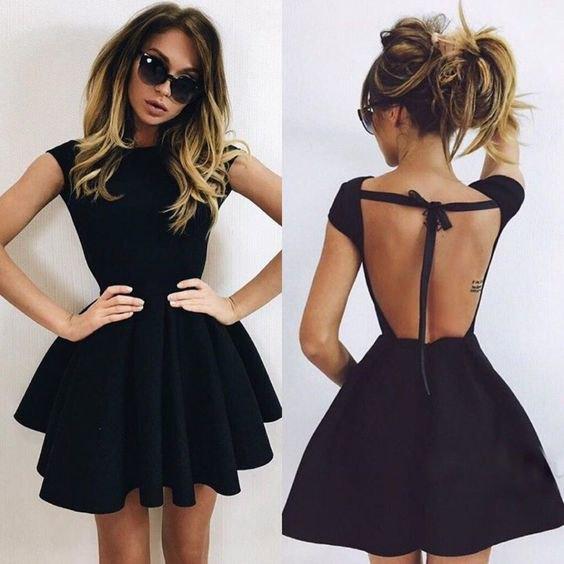 black backless ruffle mini dress