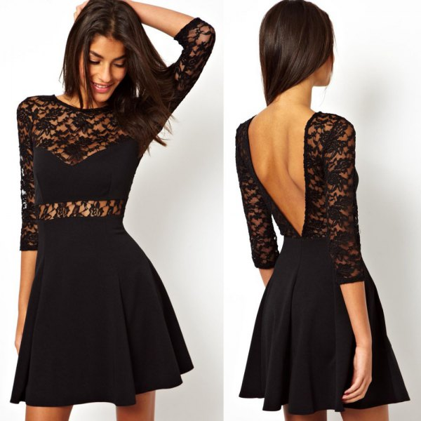 black lace skater with open back