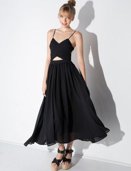 black chiffon dress cutout at waist back