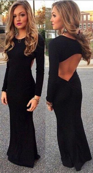 black mantle maxi dress cutout on the back