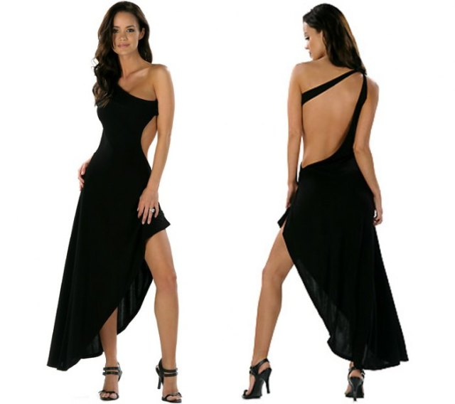 asymmetrical backless dress ankle strap with open toe heels