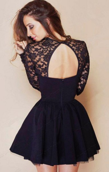 black lace and chiffon dress with open back