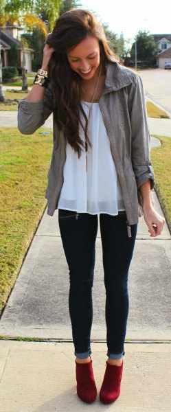 white chiffon tunic jeans outfit
