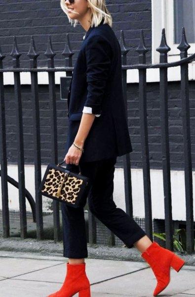 red boots navy suit cheetah handbag