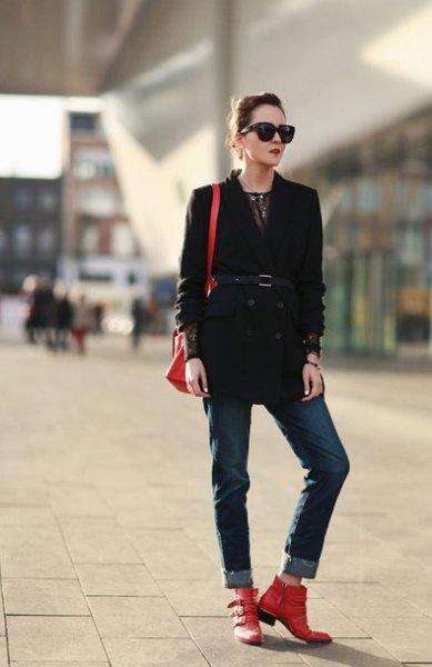 black belt trench coat cuffed jeans