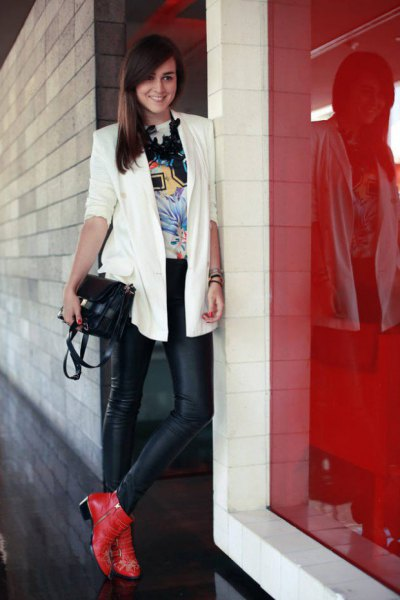 red boots white blazer black leather leggings