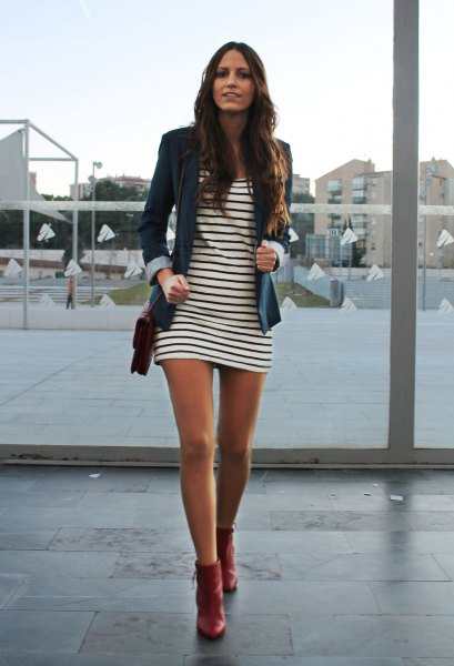 red leather ankle boots striped t-shirt dress