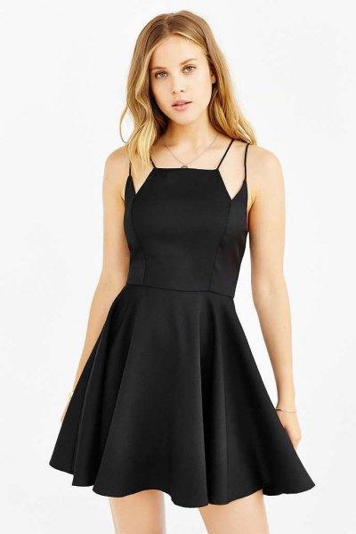 black skater dress extra straps on the shoulders