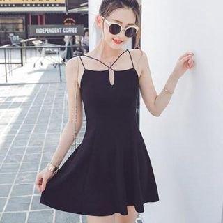 black v-neck strappy skater dress