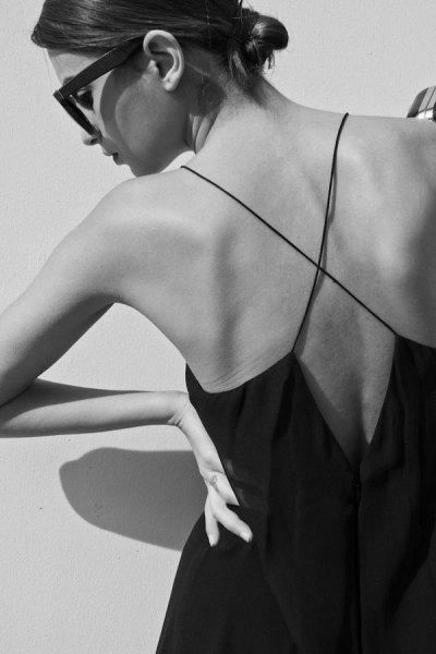 cross strap low back black shift dress