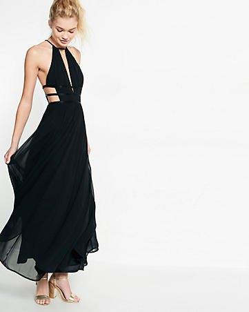 black strappy maxi chiffon dress
