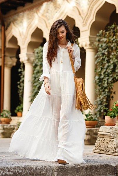 semi pure white button up maxi dress