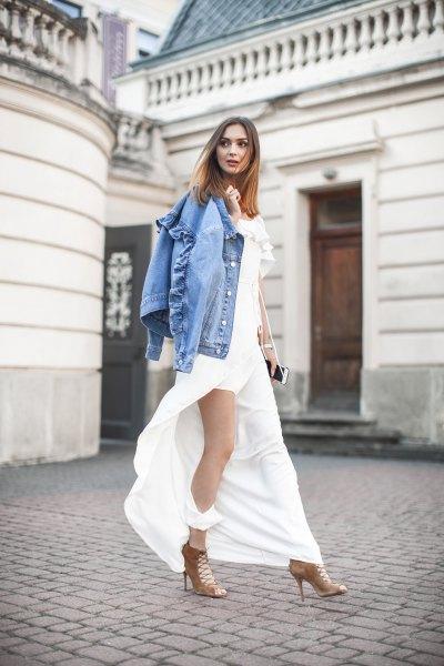 high split white maxi dress denim shirt
