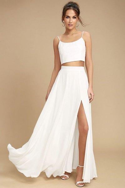 two pieces white maxi dress