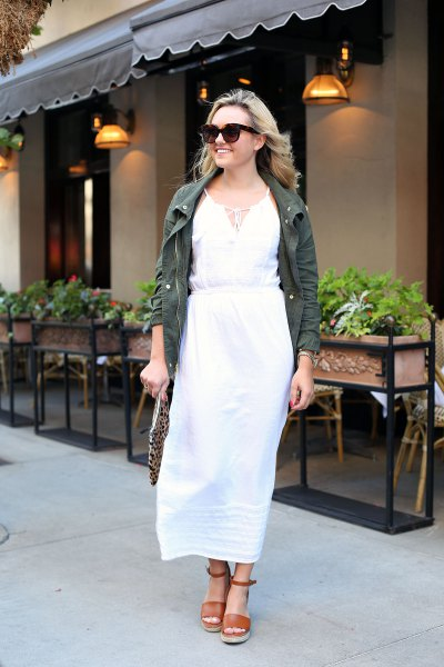 white mantle maxi dress gray denim jacket