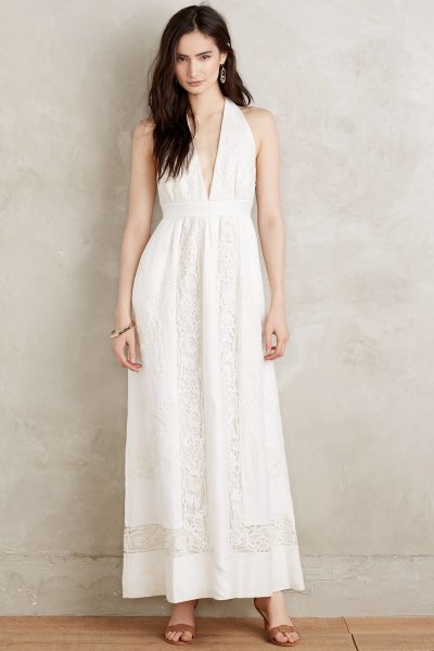 deep v-neck white boho maxi dress