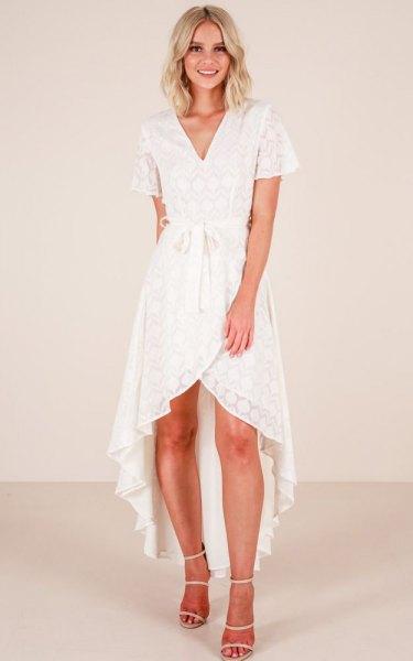 asymmetrical white lace dress