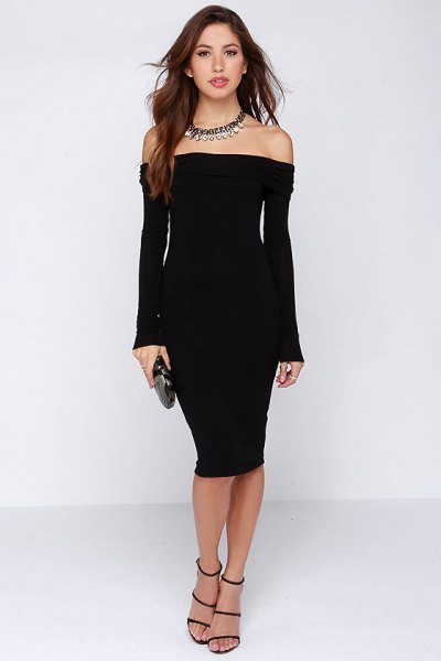 long sleeve of shoulder bodycon dress