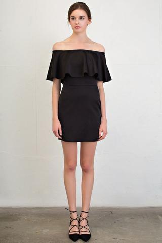 black off shoulder ruffle mini dress