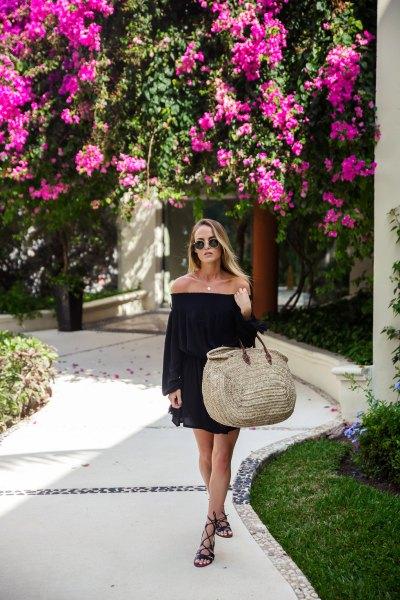 black dress dress gladiator sandals