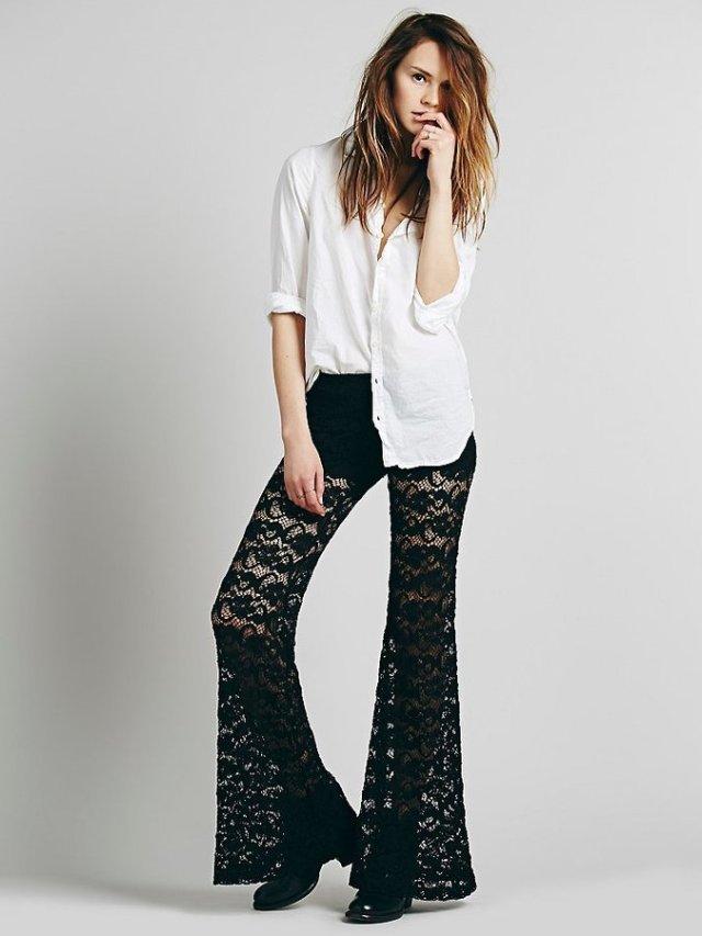 black lace pants white button down