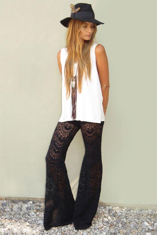 black lace pants bohemian